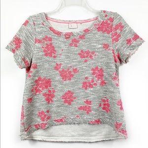 Postmark Terry Tweed Grey Floral Pink Grey Top